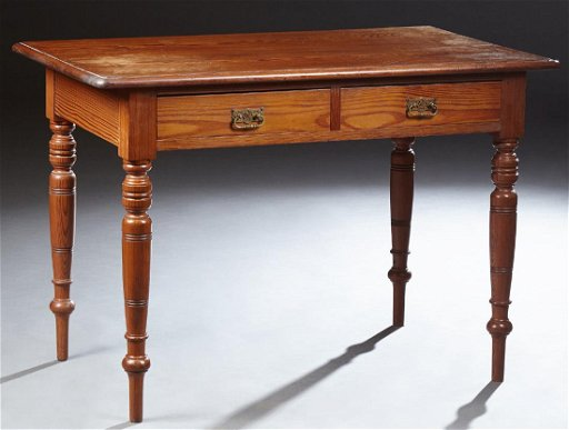 English Pitch Pine Writing Table, c  1850, the rounded