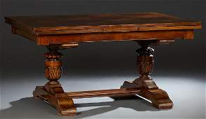 French Carved Walnut Louis XIII Style Drawleaf Dining