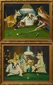 Chinese School Dogs Playing Pool 20th c pair of