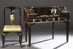 Chinese Black Lacquer Demilune Ladys Desk 20th c