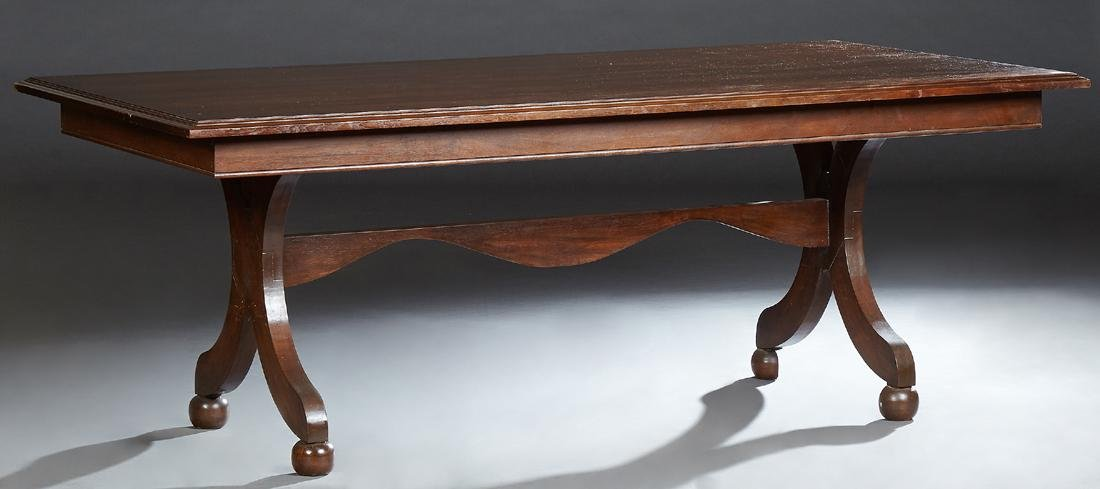 French Directoire Style Carved Mahogany Dining Table,