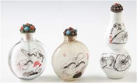 Group of Three Chinese Snuff Bottles, 20th c.,