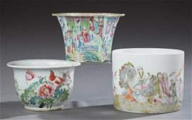 Three Chinese Porcelain Jardiniere early 20th c