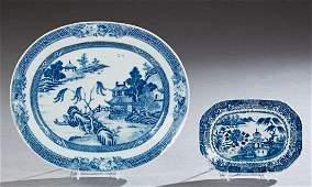 Two Pieces of Chinese Export Blue and White Porcelain,