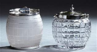 Two English Silverplate Mounted Biscuit Barrels, 20th