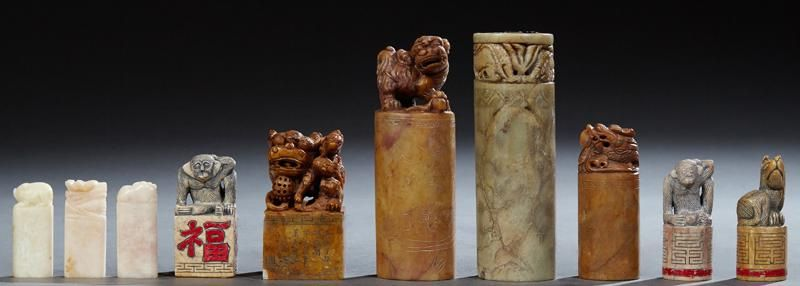 Group of Ten Chinese Carved Soapstone and Marble Chops,