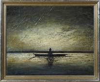 J Pearce Man in a Flat Boat at Sundown early 20th