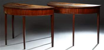 Pair of Sheraton Style Carved Mahogany Demilune Console