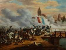 "French School, ""Battle Scene,"" 19th c., oil on canvas,"
