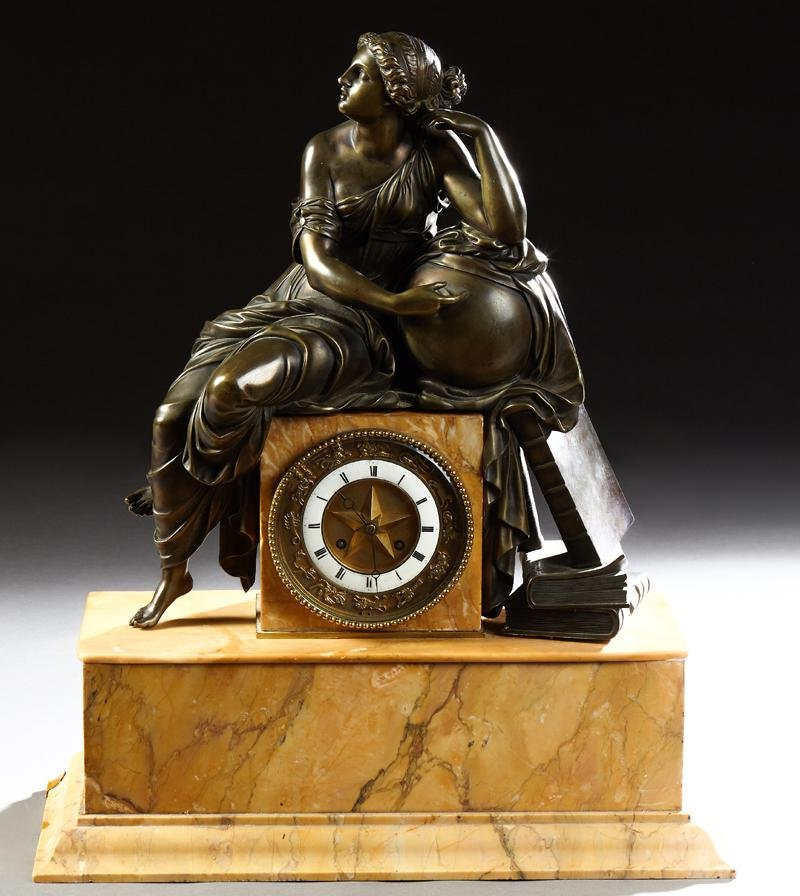 Exceptional French Gilt Bronze Figural and Ocher Marble