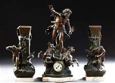 Impressive Three Piece Patinated Spelter Figural Clock