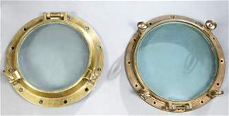 Two Large Brass Ships Port Hole Covers 20th c one