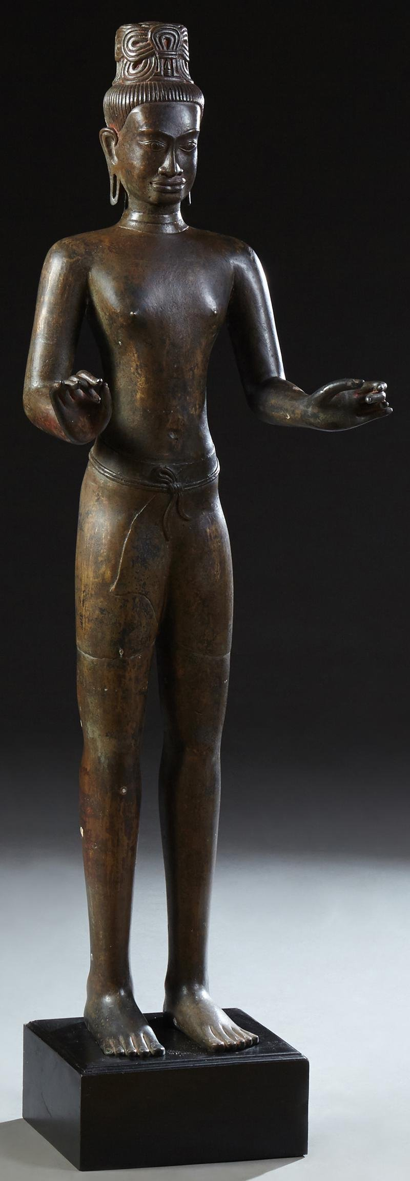 Large Cambodian Standing Buddha Figure, 19th c.,