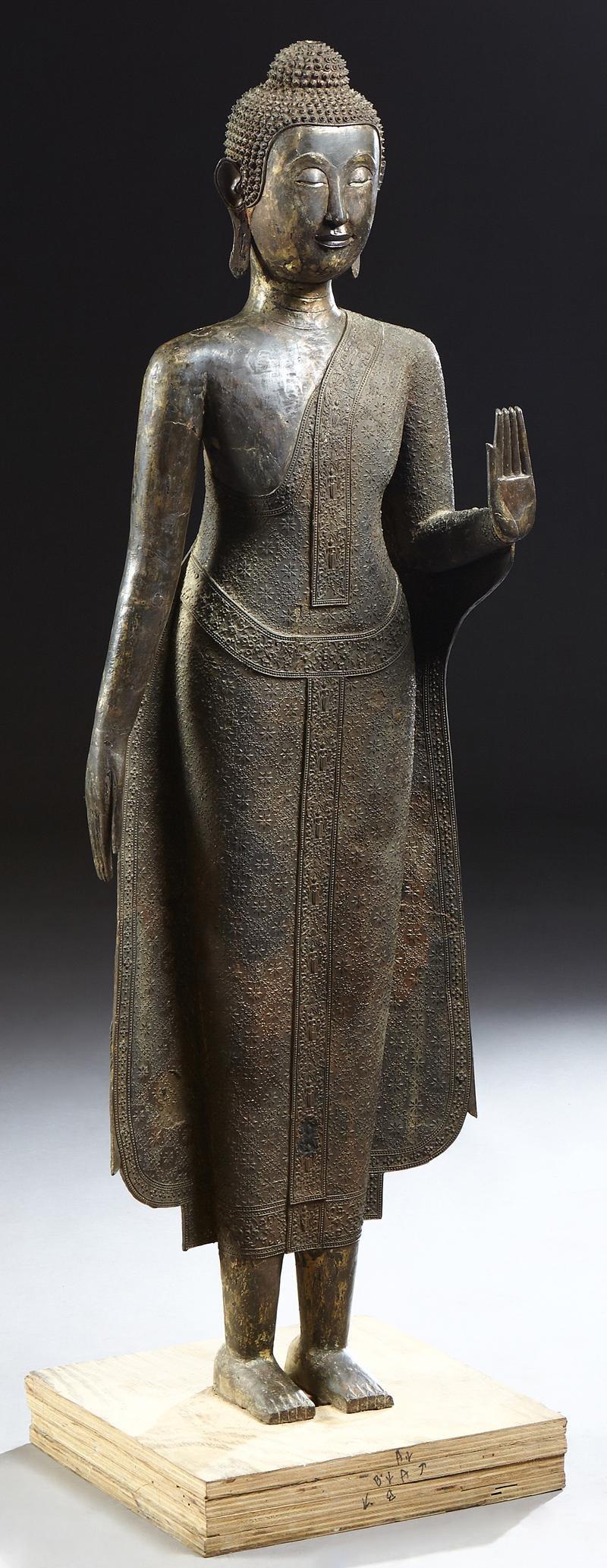Thai Patinated Bronze Standing Buddha Figure, 19th c.,