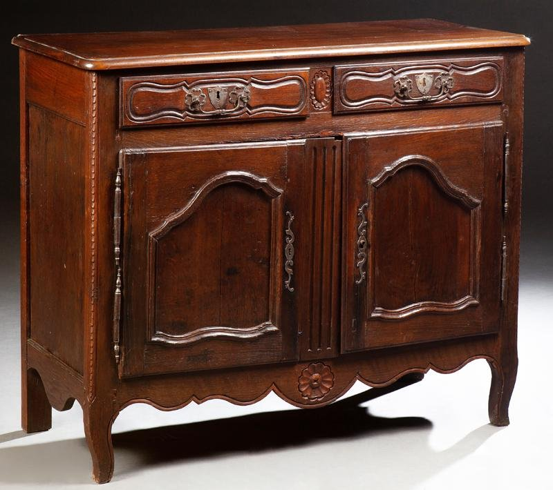 French Provincial Louis XV Style Carved Oak Sideboard,