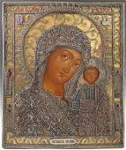 Russian Icon of the Virgin of Kazan 19th c St