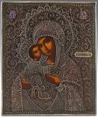 Russian Icon of the Virgin of Vladimir 19th c with