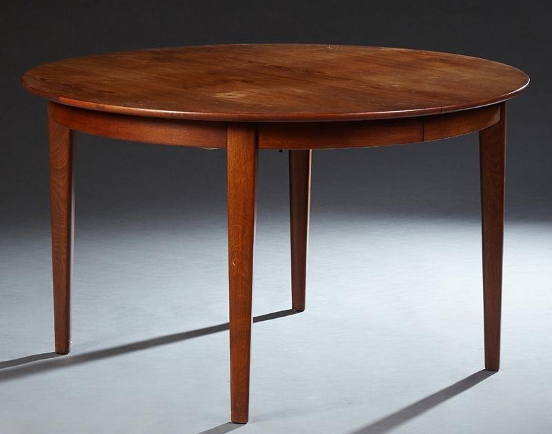 Danish Modern Carved Teak Circular Dining Table, 20th