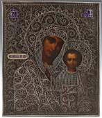 Russian Icon of the Virgin of Kazan 19th c with an