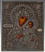 Russian Icon of the Virgin of Tikhvin 19th c with an
