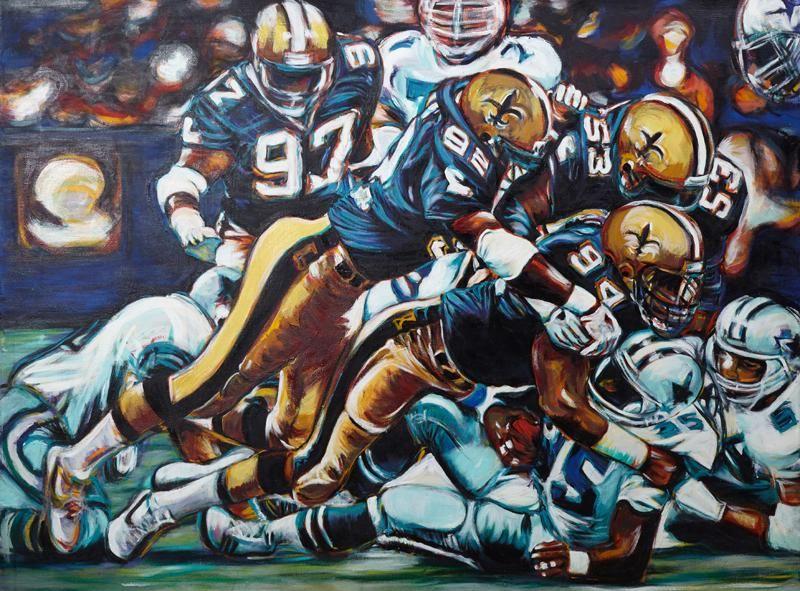 """New Orleans School, """"Saints vs. Cowboys,"""" 20th c., oil"""