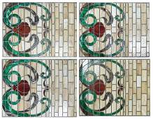 Group of Four American Matching Stained Glass Windows,