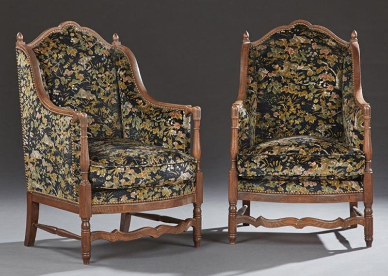 Pair of Upholstered Walnut Diminutive Wing Armchairs,