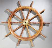 Carved Mahogany And Brass Ships Wheel late 20th c