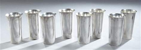 Set of Eight Sterling Water Goblets, by Fisher, #76,