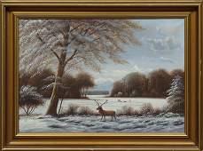 American School Deer in a Winter Landscape 20th c