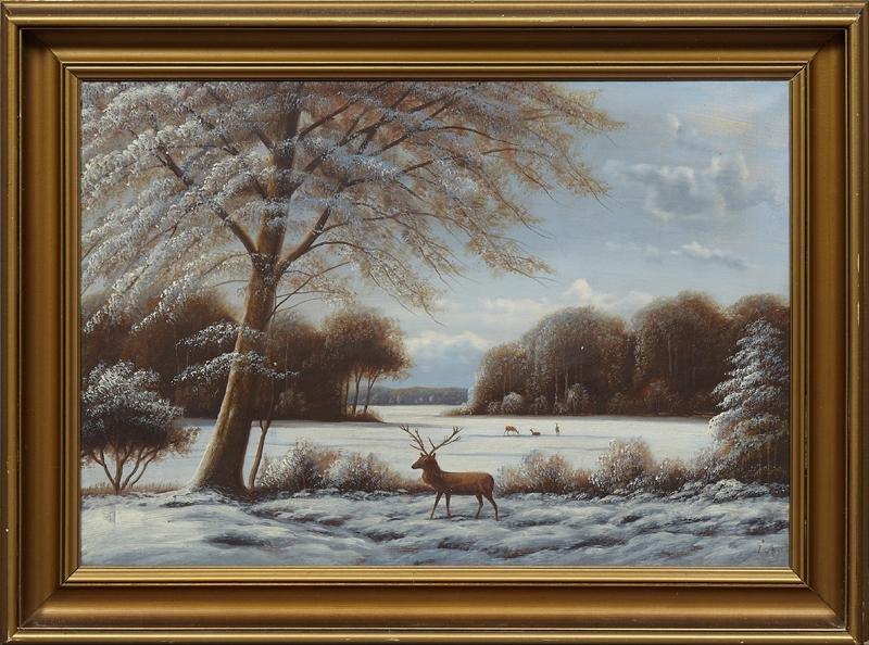 """American School, """"Deer in a Winter Landscape,"""" 20th c.,"""