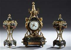 French Three Piece Gilt Bronze and Verde Antico Marble