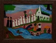 "Clementine Hunter (1886-1988), ""Baptism,"" c. 1950, oil"