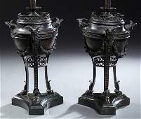 Pair of Large French Louis XVI Style Patinated Bronze