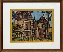"""Sarah Fedak (1947- , Texas), """"Cityscape,"""" 20th/21st c.,"""
