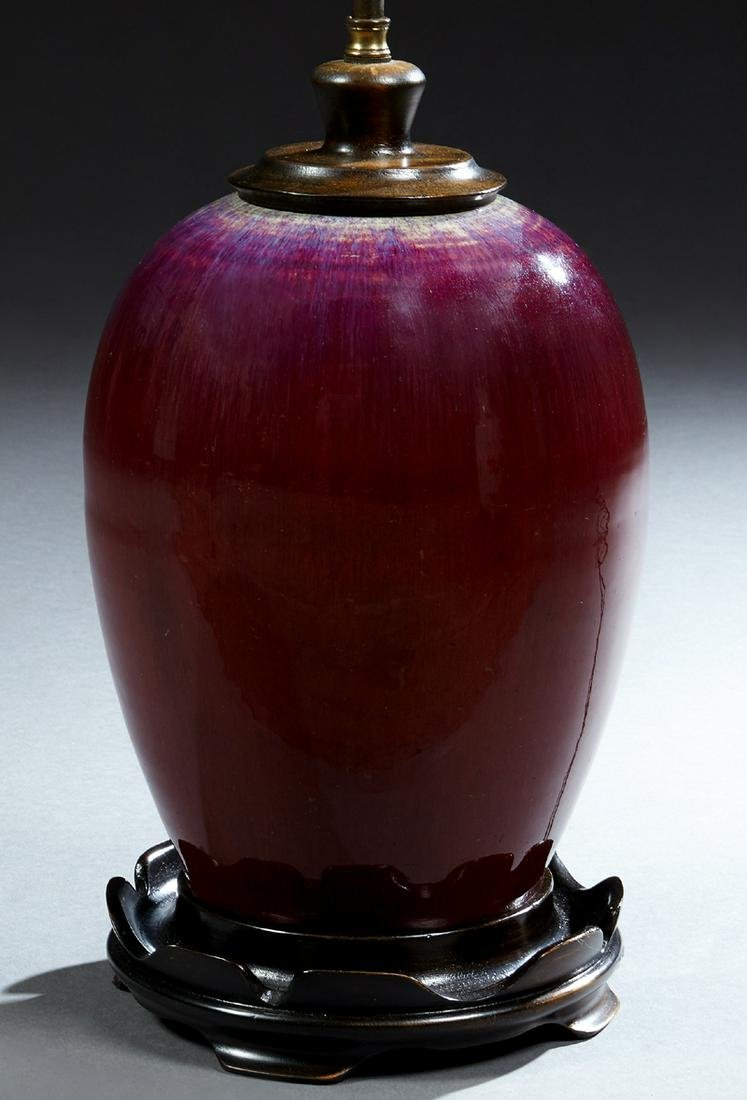 Chinese Oxblood Porcelain Baluster Lamp, 20th c., now