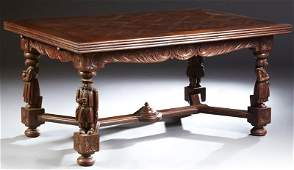 French Provincial Carved Oak Drawleaf Dining Table,