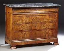 French Provincial Louis Philippe Carved Walnut Marble