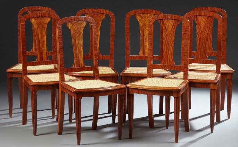 French Set of Eight Louis XVI Style Elm Dining Chairs,
