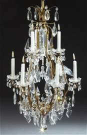 Nine Light Bronze and Crystal Basket Chandelier, 20th