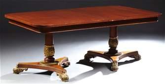 English Regency Style Inlaid Mahogany Dining Table,