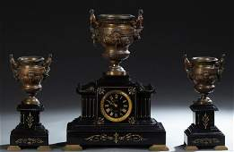 French Empire Style Bronze and Black Marble Three Piece