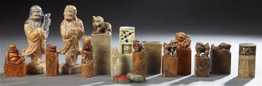 Group of Fifteen Chinese Carved Soapstone Chops, 19th