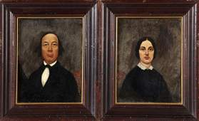 """American School, """"Pair of Portraits of a Couple,"""" 19th"""