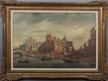 """De Momi, """"Venetian Canal Scene with Square, """"19th c.,"""