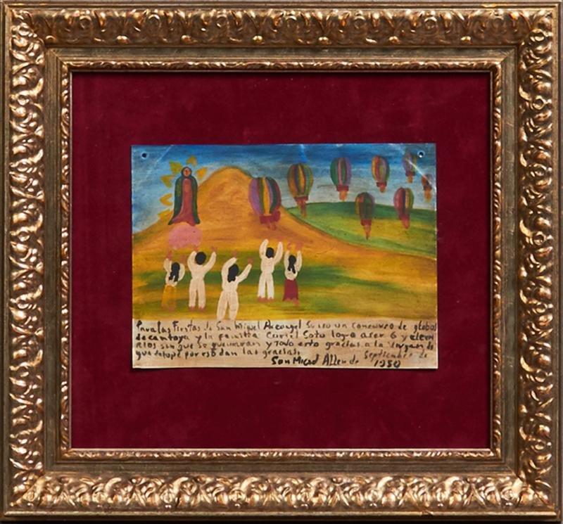 Mexican Retablo, 1950, oil on tin, giving thanks for