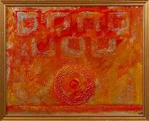 """American School, """"Abstract,"""" oil on canvas, signed"""