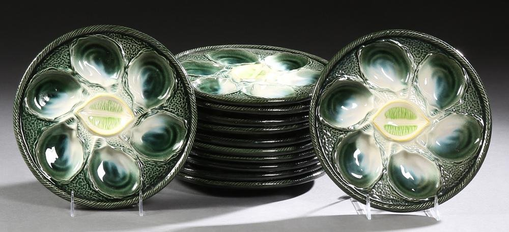 Set of Twelve French Majolica Oyster Plates, 20th c.,