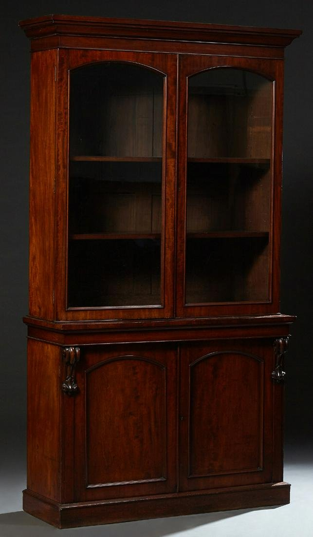 English Victorian Mahogany Carved Bookcase Cupboard, c.
