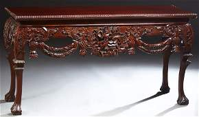 Chippendale Style Carved Mahogany Console Table